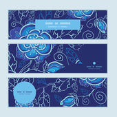 Vector blue night flowers horizontal banners set pattern background — Vetorial Stock