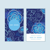 Vector blue night flowers vertical round frame pattern business cards set — Stock Vector