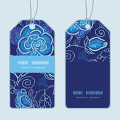 Vector blue night flowers vertical stripe frame pattern tags set — Stock vektor