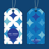Vector blue marble tiles vertical round frame pattern tags set — Vetorial Stock