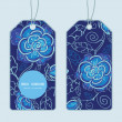 Vector blue night flowers vertical round frame pattern tags set — Stock Vector #55988449