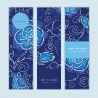 Vector blue night flowers vertical banners set pattern background — Stock Vector #55988457