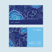 Vector blue night flowers horizontal stripe frame pattern business cards set — Cтоковый вектор