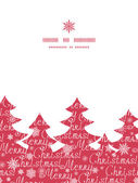 Vector merry christmas text pine tree silhouette pattern frame card template — Vector de stock