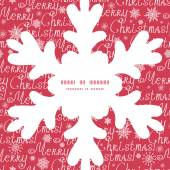 Vector merry christmas text snowflake silhouette pattern frame card template — Stock Vector