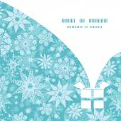 Vector decorative snowflake frost Christmas gift box silhouette pattern frame card template — Stok Vektör