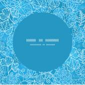 Vector blue field floral texture frame seamless pattern background — Stock Vector