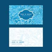Vector blue field floral texture horizontal frame pattern business cards set — Stock vektor