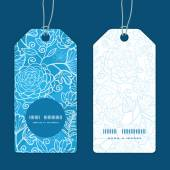 Vector blue field floral texture vertical round frame pattern tags set — Stock Vector