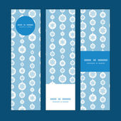 Vector blue and white snowflakes stripes vertical banners set pattern background — Vetorial Stock
