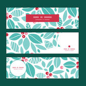 Vector christmas holly berries horizontal banners set pattern background — Vetorial Stock