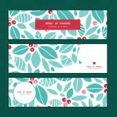 Vector christmas holly berries horizontal banners set pattern background — Stockvektor