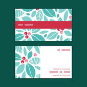 Vector christmas holly berries horizontal stripe frame pattern business cards set — Stock vektor