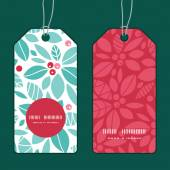 Vector christmas holly berries vertical round frame pattern tags set — Stock Vector
