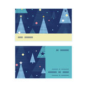Vector abstract holiday christmas trees horizontal stripe frame pattern business cards set — Stock vektor