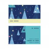 Vector abstract holiday christmas trees horizontal stripe frame pattern business cards set — Stockvektor