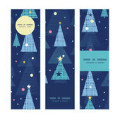 Vector abstract holiday christmas trees vertical banners set pattern background — Stock Vector