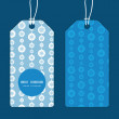 Vector blue and white snowflakes stripes vertical round frame pattern tags set — Stock Vector #56272355