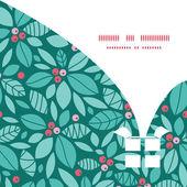 矢量圣诞冬青浆果圣诞礼物框轮廓模式框架卡模板 — 图库矢量图片