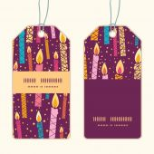 Vector colorful birthday candles vertical stripe frame pattern tags set — Stock Vector