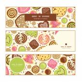 Vector colorful cookies horizontal banners set pattern background — Stockvektor