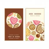 Vector colorful cookies vertical round frame pattern business cards set — Stock Vector