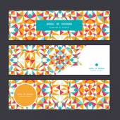 Vector colorful triangle texture horizontal banners set pattern background — Cтоковый вектор