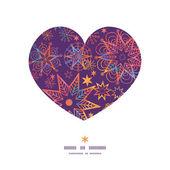 Vector textured christmas stars heart silhouette pattern frame — Vector de stock
