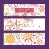 Vector textured christmas stars horizontal banners set pattern background — Cтоковый вектор