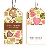 Vector colorful cookies vertical stripe frame pattern tags set — Vecteur