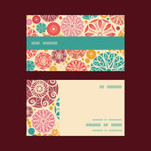 Vector abstract decorative circles horizontal stripe frame pattern business cards set — Stock Vector