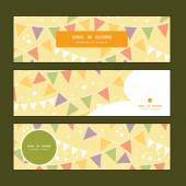 Vector party decorations bunting horizontal banners set pattern background — Vettoriale Stock