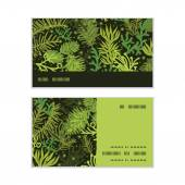 Vector evergreen christmas tree horizontal stripe frame pattern business cards set — Stock Vector