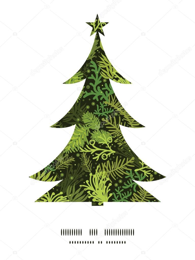 christmas tree Christmas tree silhouette pattern frame card template ...