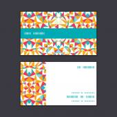 Vector colorful triangle texture horizontal stripe frame pattern business cards set — Stock Vector