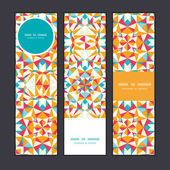 Vector colorful triangle texture vertical banners set pattern background — Stock Vector