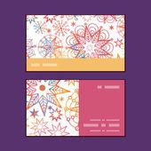 Vector textured christmas stars horizontal stripe frame pattern business cards set — Stock Vector