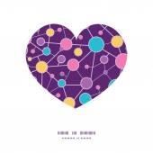 Vector molecular structure heart silhouette pattern frame — Vector de stock