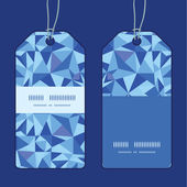 Vector blue triangle texture vertical stripe frame pattern tags set — Stock Vector