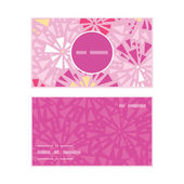 Vector pink abstract triangles vertical round frame pattern business cards set — Stock Vector