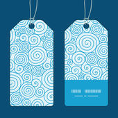 Vector abstract swirls vertical stripe frame pattern tags set — Stock Vector