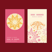 Vector warm stars vertical round frame pattern business cards set — Stock Vector