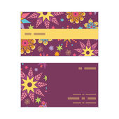 Vector colorful stars horizontal stripe frame pattern business cards set — Stock Vector