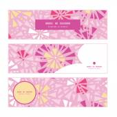 Vector pink abstract triangles horizontal banners set pattern background — Stock Vector