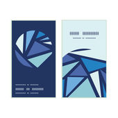Vector abstract ice chrystals vertical round frame pattern business cards set — Stock Vector