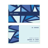 Vector abstract ice chrystals horizontal stripe frame pattern business cards set — Stock Vector