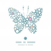 Vector colorful bubbles butterfly silhouette pattern frame — Stok Vektör