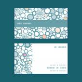 Vector colorful bubbles horizontal stripe frame pattern business cards set — Stock Vector