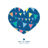Vector colorful doodle bunting flags heart silhouette pattern frame — Stok Vektör