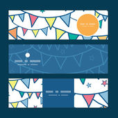 Vector colorful doodle bunting flags horizontal banners set pattern background — Stock Vector